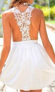 White Deep V Neck Lace Backless Dress