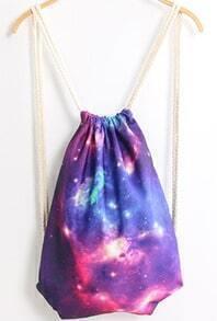 Purple Galaxy Print Backpack