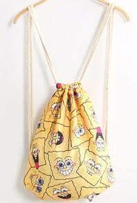 Yellow Spongebob Print Backpack