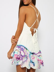 White Spaghetti Strap Backless Floral Print Dress