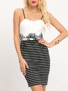 White Spaghetti Strap Striped Color Block Dress