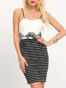White Spaghetti Strap Striped Color Block Dress