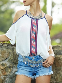 White Spaghetti Strap Off The Shoulder Vintage Print Blouse