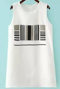 White Sleeveless Striped Two Pieces Dress