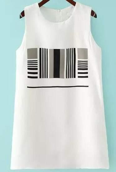 White Sleeveless Striped Two Pieces Dress