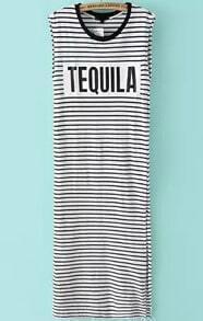 Black White Sleeveless Striped TEQUILA Print Dress