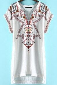 White V Neck Tribal Embroidered High Low Dress