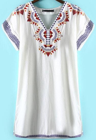 White V Neck Short Sleeve Embroidered Dress