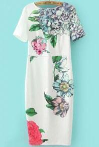 White Short Sleeve Floral Slim Dress