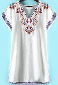 White V Neck Short Sleeve Embroidered Dress