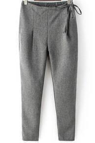 Grey Elastic Waist Bandage Casual Pant
