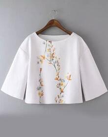 White Round Neck Floral Crop Blouse