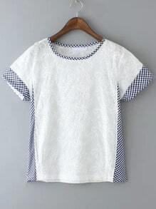 White Short Sleeve Contrast Plaid Embroidered T-Shirt
