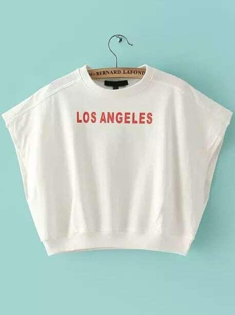 T Shirt Imprim Los Angeles Blanc French Shein Sheinside