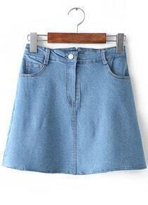 Blue Button Pockets Denim Skirt