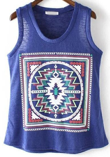 Blue Sleeveless Geometric Print Knit Tank Top