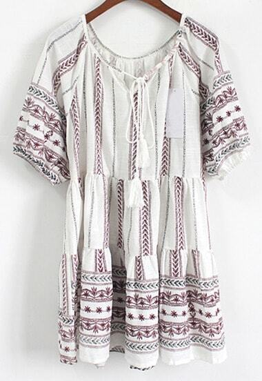 Lace Up Vintage Print Shift Dress