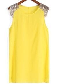 With Sequined Shift Chiffon Yellow Dress