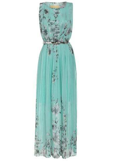 Aqua Sleeveless Hibiscus Florals Pleated Green Drapery Dress