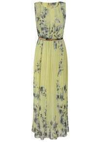 Sleeveless Florals Pleated Yellow Dress