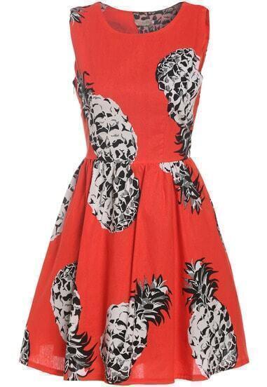 Pineapple Print Flare Sun Dress