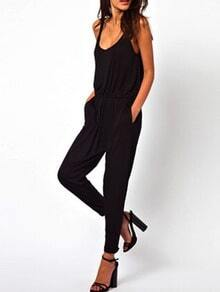 Scoop Neck Sleeveless Loose Black Jumpsuit