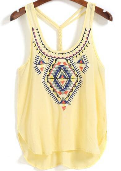 Straps Embroidered Yellow Cami Top