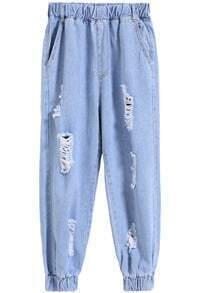 Elastic Waist Ripped Denim Beam Port Pant