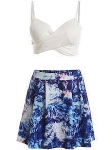 Deep V Neck Crop Top With Florals Skirt