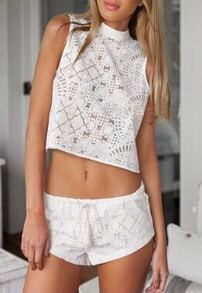 Stand Collar Back Split Top With Lace Shorts