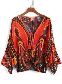 V Neck Vintage Print Loose Top