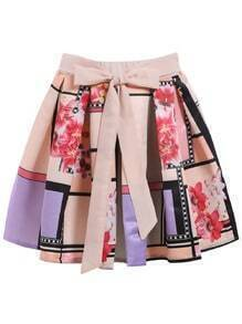 With Bow Florals Flare Skirt