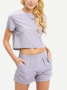 Short Sleeve Crop Top With Slim Shorts Suits