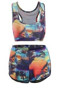 Coconut Trees Print Top With Boxer Pant