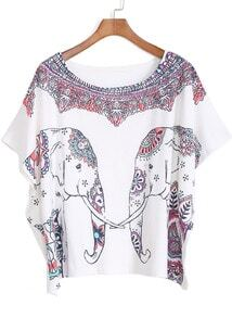 White Short Sleeve Elephant Print Loose T-Shirt