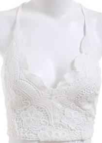 White Criss Cross Back Floral Crochet Lingerie