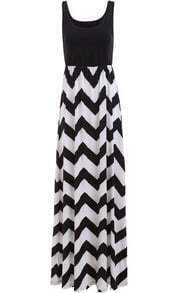 Black Scoop Neck Sleeveless Striped Maxi Dress