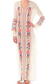 Beige V Neck Long Sleeve Tribal Embroidered Dress