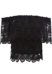 Black Boat Neck Floral Crochet Lace Blouse