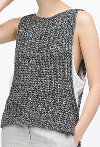 Grey Round Neck Knit Dip Hem Sweater