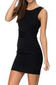 Black Sleeveless Backless Slim Bodycon Dress