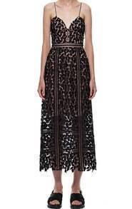 Black Spaghetti Strap Floral Crochet Lace Dress