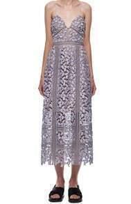Purple Spaghetti Strap Floral Crochet Lace Dress