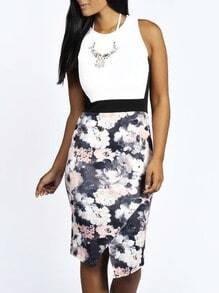 White Sleeveless Color Block Floral Print Dress
