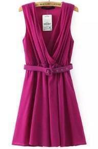 Purple Multiway V Neck Sleeveless Pleated Dress