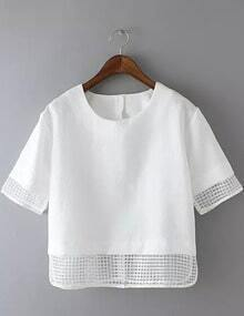 White Short Sleeve Sheer Plaid Crop Blouse
