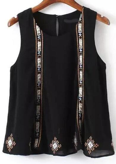 Black Sleeveless Embroidered Chiffon Blouse