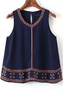 Navy Sleeveless Embroidered Chiffon Blouse