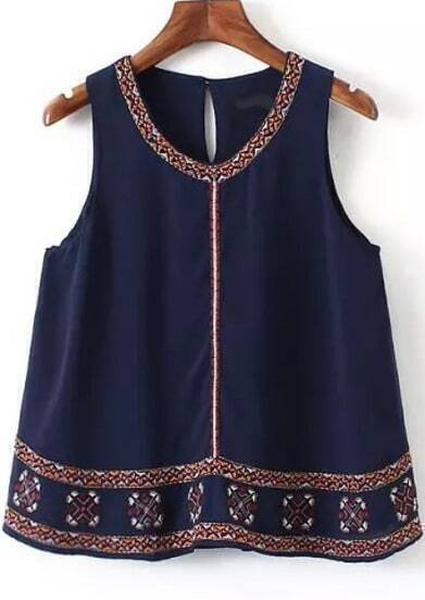 Navy Sleeveless Embroidered Chiffon Tank Top