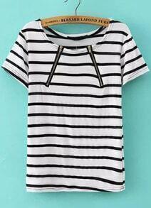 White Short Sleeve Zipper Striped Blouse